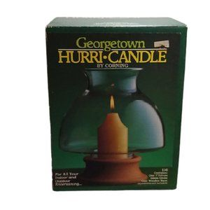 Vintage Hurri-Candle by Corning 80's Glass Wood